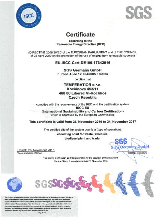 certifikat ISCC EU2